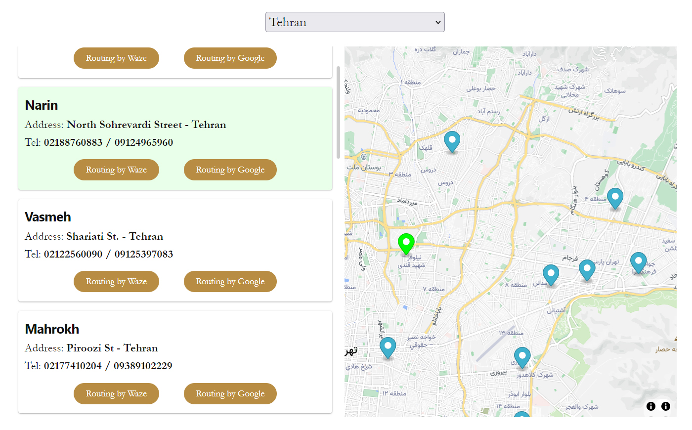 افزونه نمایندگان در ورپرس با قابلیت مسیریابی از طریق گوگل و ویز