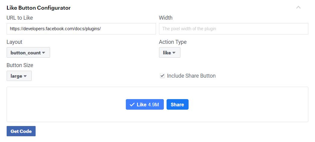 تنظیمات نمایش دکمه لایک و اشتراک گذاری فیس بوک
