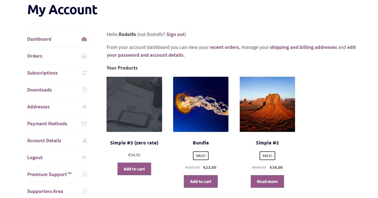 نمایش لیست محصولات خریداری شده توسط مشتری