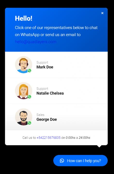 گفتگوی واتساپ برای وردپرس